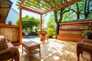 Renovations - Gold Coast - MTB Constructions -Backyard Deck With Wicker Furniture And Pergola.
